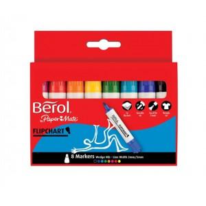 Berol Flip Chart Marker Assorted 8 Pack 3P