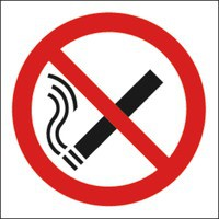No Smoking Symb 100x100mm Self-Adh Sign