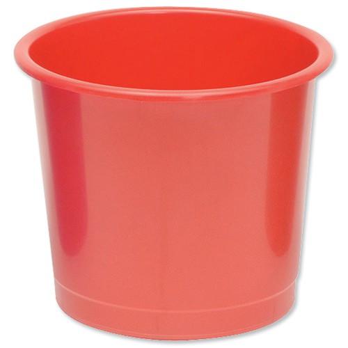 Business Waste Bin Polypropylene 14 Litres D304xH254mm Red