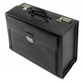 Image for Alassio Ferrara Pilot Case Leather Laptop Compartment 2 Combination Locks Black Ref 45045