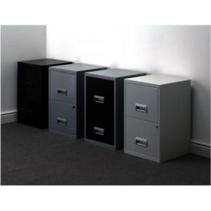 Pierre Henry Filing Cabinet Steel Lockable 2 Drawers A4 Black Ref 095010