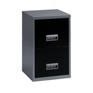 Pierre Henry Filing Cabinet Steel Lockable 2 Drawers A4 Silver and Black Ref 095808