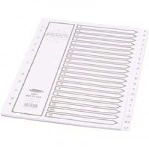 Concord Recycled Dividers 160gsm Card with Printed Tabs A-Z 20-Part A4 White Ref 48201