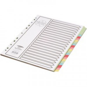 Concord Recycled Dividers 160gsm Card with Coloured Tabs 20-Part A4 White Ref 48699