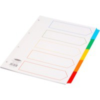Concord Index Multicolour-tabbed Mylar-Reinforced 4 Holes 5-Part A4 White Ref CS6