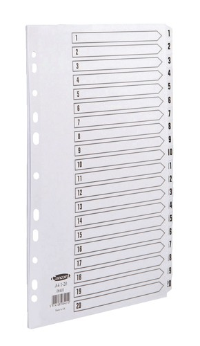 Concord Commercial Dividers Europunched 1-20 Clear Tabs A4 White Ref 08401