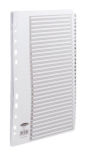 Concord Commercial Dividers Europunched 1-31 Clear Tabs A4 White Ref 08501