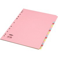 Concord Subject Dividers 160gsm 20-Part A4 4x5 Colours Assorted Ref 74099/J40