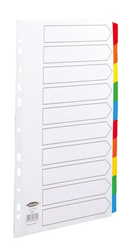 Concord Commercial Dividers Europunched 10-Part Coloured Tabs A4 White Ref l08801