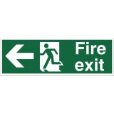 Image for Stewart Superior Fire Exit Sign Man and Arrow Left 600x200mm Self-adhesive Vinyl Ref NS001