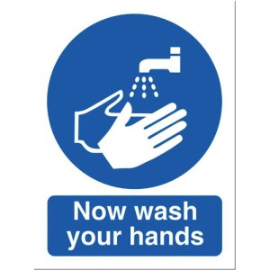 Stewart Superior PVC Access Prohibition & General Signs - Now Wash Your Hands Please 200x150mm Ref NS022