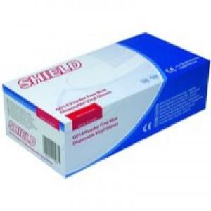 Shield PF Med Blue Vinyl Gloves Pk100