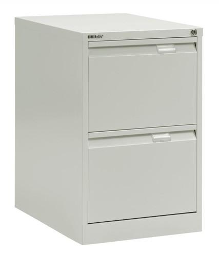 Bisley BS2E Filing Cabinet Flush-front 2-Drawer W470xD622xH711mm Chalk White