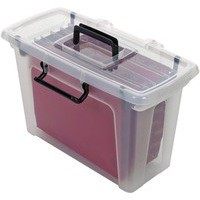 Strata Smart File Box With 5 Files Clear