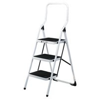 Folding White Alum 3 Tread Step Stool