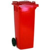 Red 2 Wheel Refuse Container 140Ltr