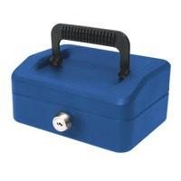 Helix 15cm Sloping Lid Cash Box Blue