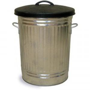 Galvanised Bin With Lid Metallic 316625