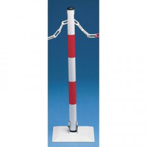 Barrier System Wht/Red Collapsible Post