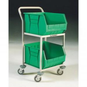 Mobile Green Storage Trolley c/w 2 Bins