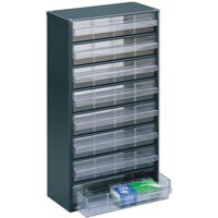 Dk.Grey Clear 8 Drawer Storage Cabinet