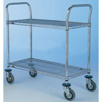 2 Tier 457x1070mm Chrome/Steel Trolley
