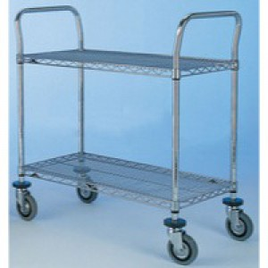 2 Tier 610x1070mm Chrome/Steel Trolley