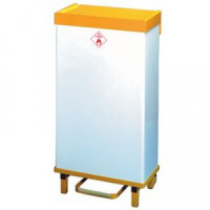 Wht/Ylw 64Ltr Fire Retardant Waste Bin