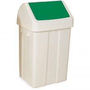 Swing Top Bin 50 Ltr White/Green Lid