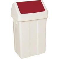 Swing Top Bin 50 Ltr White/Red Lid