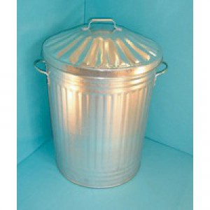 Galvanised Dustbin With Lid 90L 344197