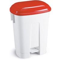 Derby 60L White/Red Pedal Bin 348012