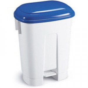 Derby 60L White/Blue Plastic Pedal Bin