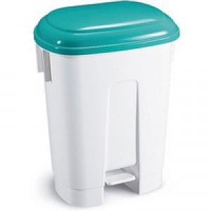 Derby 60L White/Green Plastic Pedal Bin