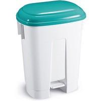 Derby 30L White/Green Plastic Pedal Bin