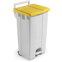Plastic Grey/Yellow Pedal Bin/Lid 90L