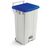 Plastic Pedal Bin Grey/Blue With Lid 90L