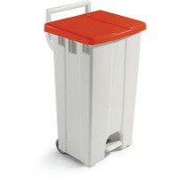 Plastic Pedal Bin Grey/Red With Lid 90L