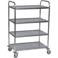 Service Trolley 4-Tier Stainless Silver