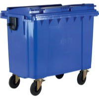 Blue Wheeled 1100 Ltr Bin with Flat Lid