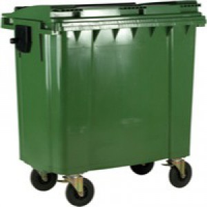 Green Wheeled 1100 Ltr Bin with Flat Lid