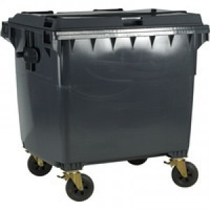 Grey Wheeled 1100 Ltr Bin with Flat Lid