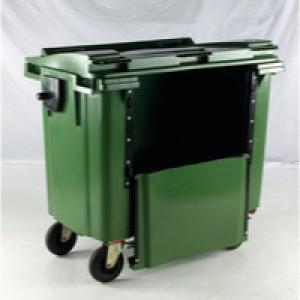 Green Wheeled Bin 1100L Front Flat Lid