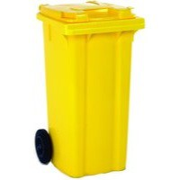 Yellow 2 Wheel Refuse Container 240 Ltr