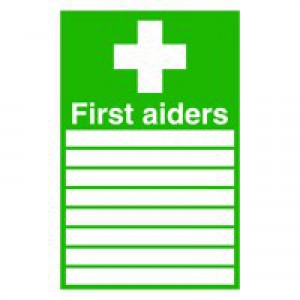 First Aiders 300x200mm PVC Sign