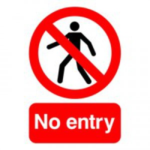 Warning Sign No Entry A5 Self-Adhesive