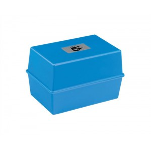Image for Business Card Index Box Capacity 250 Cards 5x3in 127x76mm Blue