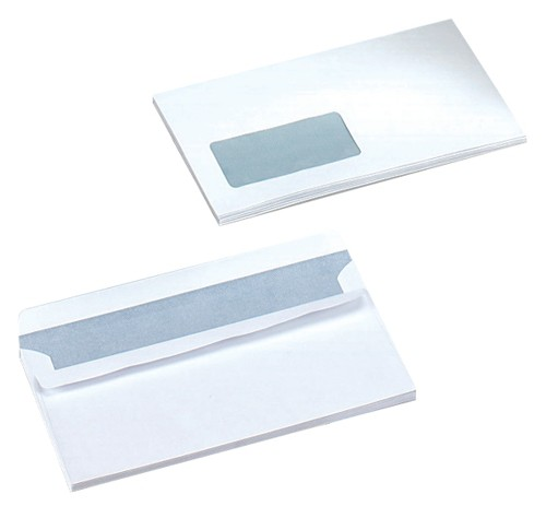 Business Envelopes Wallet Self Seal Window 80gsm White DL [Pack 1000]
