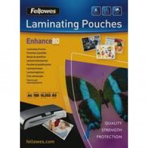 Fellowes Laminating Pouch A4 2x80 micron 5306114 (PK100)