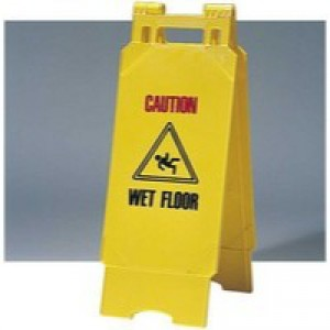 Folding Caution Wet Floor Cleaning Sign